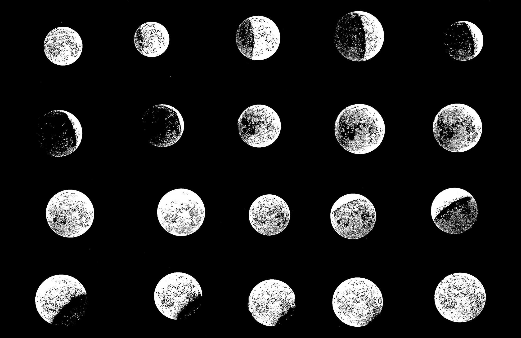 Mondphasen Tuschezeichnung