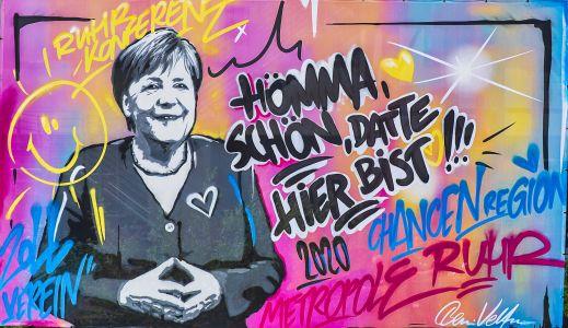 Graffiti anlässlich des Besuches von Frau Merkel