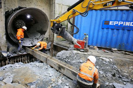 Abbau der Tunnelbohrmaschine